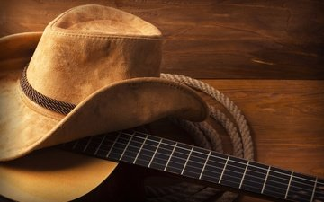 guitar, rope, hat, wood