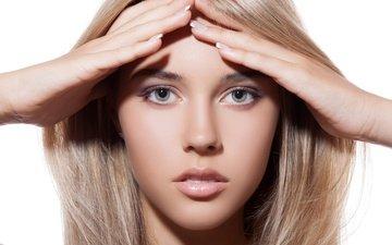 девушка, блондинка, взгляд, модель, лицо, руки, блонд, модел