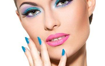 девушка, модель, лицо, макияж, маникюр, make up, модел, самка