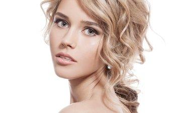 девушка, поза, блондинка, портрет, взгляд, модель, волосы, лицо, блонд, модел