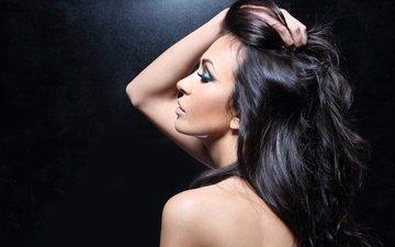 девушка, поза, портрет, брюнетка, профиль, спина, волосы, лицо, руки, макияж, сзади, брюнет, make up