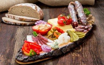 бутерброд, лук, сыр, булки, хлеб, колбаса, помидор, перец, соус, огурец, брынза
