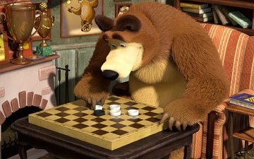 chess, bear, cartoon, and, masha