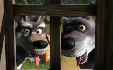 мультфильм, волки, маша и медведь