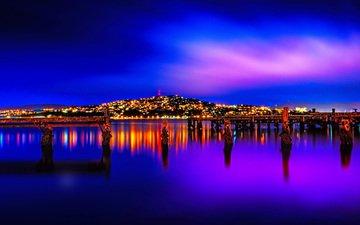огни, ночной город, новая зеландия, веллингтон