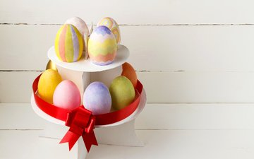 colorful, easter, eggs, bow, easter holidays