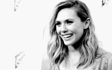 улыбка, взгляд, чёрно-белое, актриса, элизабет олсен