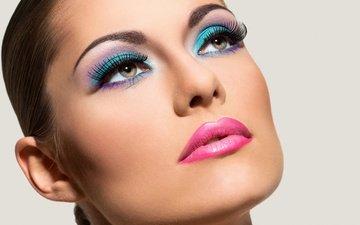 девушка, брюнетка, лицо, макияж, голубая, брюнет, make up, самка