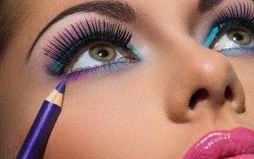 глаза, девушка, брюнетка, лицо, макияж, брюнет, взор, gевочка, make up