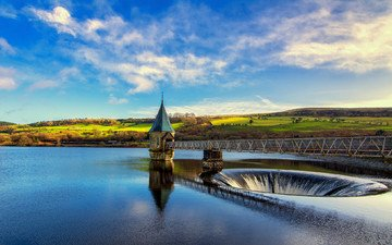 озеро, река, природа, обои, фото, пейзаж, мост, домик