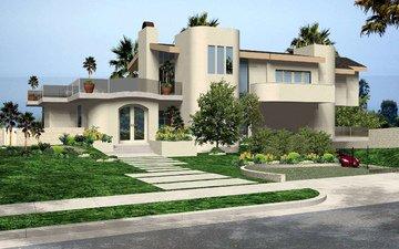 дизайн, кусты, дома, калифорния, особняк, ландшафт, малибу