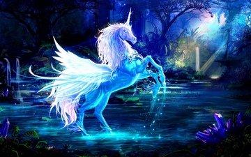 синий, крылья, единорог, рог, водный