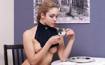 девушка, чашка, обнажена, грудь соски