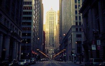 города, город, архитектура, здания, перспектива, вечерний город
