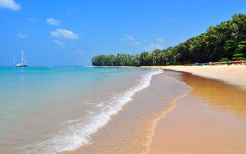 море, песок, пляж, яхта, отдых