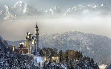 небо, облака, деревья, горы, снег, зима, германия, бавария, замок нойшванштайн