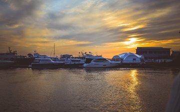 солнце, природа, закат, тучи, пейзаж, море, яхты, красота, иркутск