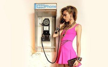платье, блондинка, телефон