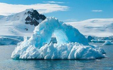 горы, снег, зима, айсберг, антарктида
