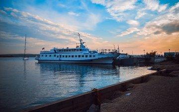 clouds, nature, shore, ship, yacht, sea. sunset, beautiful sunset