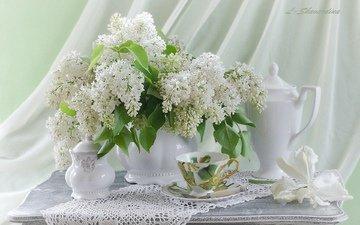 цветы, чашка, салфетка, чайник, сирень, натюрморт