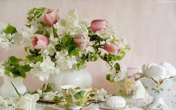 еда, цвет, букет, тюльпаны, зефир, натюрморт, яблоневый