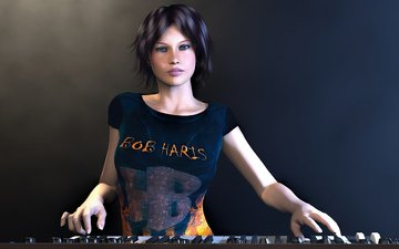 music, hd, 3d girl