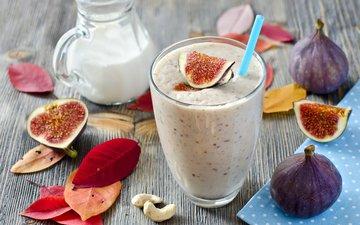 лепестки, фрукты, коктейль, плоды, водопой, инжир, парное, смузи, смуззи, молока