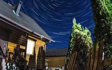 небо, ночное небо, aristovart, тверь, startrails, звездные треки