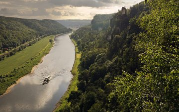 river, hills, ship, germany, saxony, elbe valley