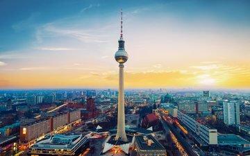 город, германия, телебашня, берлин