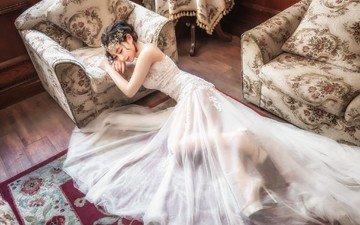 девушка, модель, азиатка, белое платье