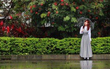 девушка, зонт, азиатка, рыжеволосая