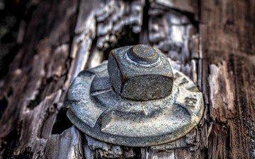 металл, дерево, железо, болт, гайка