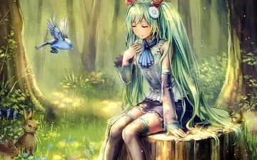 forest, girl, anime, birds