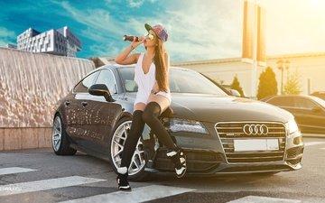 девушка, автомобиль, ауди