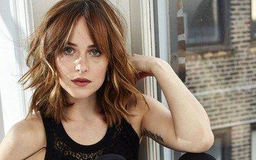 девушка, портрет, взгляд, модель, волосы, лицо, актриса, татуировка, знаменитость, дакота джонсон