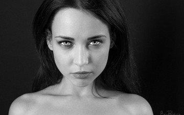 девушка, портрет, чёрно-белое, модель, лицо, голые плечи, ангелина петрова, модел