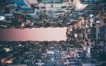 закат, город, азия, китай, гонконг