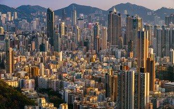 закат, город, азия, китай, гонконг, города.закат