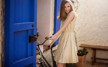 девушка, платье, блондинка, улыбка, модель, волосы, велосипед, длинные волосы, дэвид mas