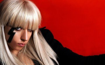 face, singer, red background, long hair, celebrity, lady gaga, body art, chris