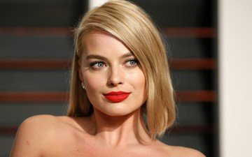 blonde, portrait, face, actress, red lipstick, celebrity, margot robbie