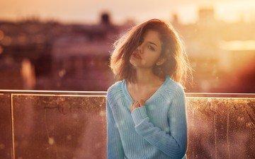 девушка, портрет, взгляд, рыжая, волосы, лицо, свитер, дэвид mas