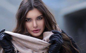 девушка, портрет, лицо, перчатки, шарф
