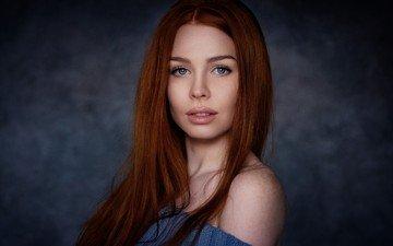 девушка, фон, портрет, лицо, рыжеволосая