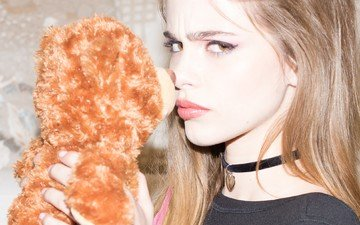girl, model, profile, face, red lipstick, long hair, brown eyes, teddy bear, bridget