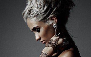 девушка, фон, модель, профиль, лицо, кольца, деми ловато