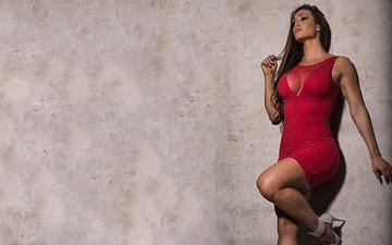девушка, фон, платье, брюнетка, модель, грудь, красное платье, gia marie macool