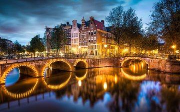 ночь, огни, мост, нидерланды, амстердам, голландия